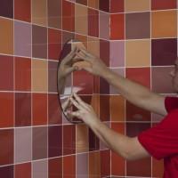 To bond mirrors onto walls
