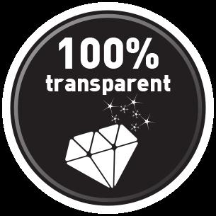100% läpinäkyvä
